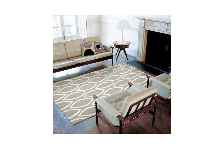 Flat Weave Oval Print Rug Grey 225x155cm