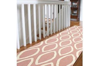 Flat Weave Oval Print Runner Rug Pink