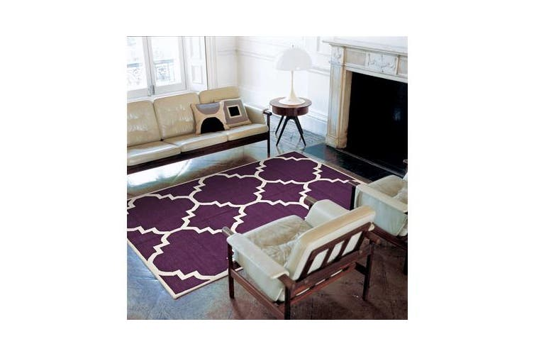 Flat Weave Large Moroccan Design Rug Aubergine 225x155cm