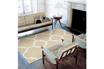Flat Weave Large Moroccan Design Rug Beige 280x190cm