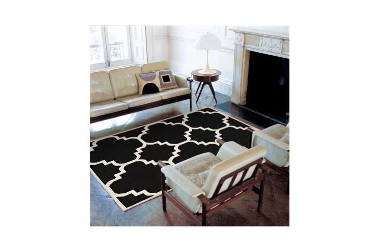 Flat Weave Large Moroccan Design Rug Black 225x155cm