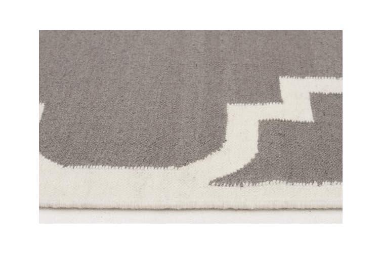 Flat Weave Large Moroccan Design Rug Grey 225x155cm