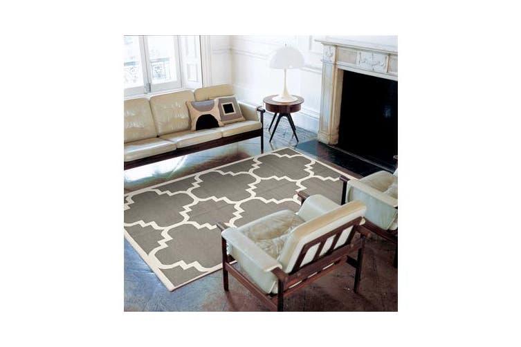 Flat Weave Large Moroccan Design Rug Grey 280x190cm