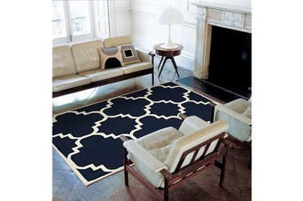 Flat Weave Large Moroccan Design Rug Navy 225x155cm