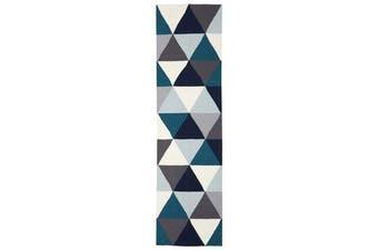 Prism Flat Weave Rug Blue 400x80cm