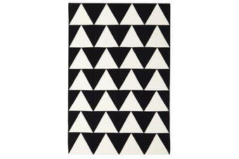 Pyramid Flat Weave Rug Black 280x190cm