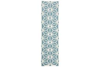 Dandelion Flat Weave Rug Blue 300x80cm