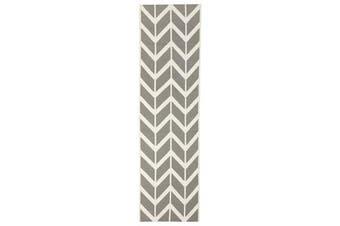 Chevron Flat Weave Rug Grey 300x80cm