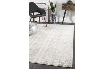 Amelia Bone Ivory & Grey Cable Knit Durable Rug 400x300cm