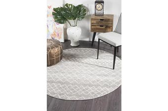 Amelia Grey & Bone Ivory Diamond Durable Round Rug 240x240cm