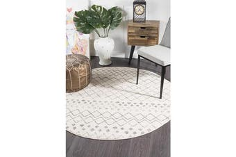 Amelia Bone Ivory & Grey Diamond Durable Round Rug 240x240cm