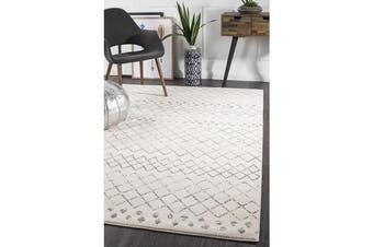 Amelia Bone Ivory & Grey Diamond Durable Rug 230x160cm