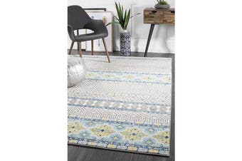 Amelia Blue, Yellow & Grey Coastal Durable Rug 230x160cm