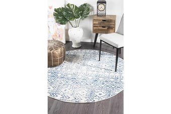 Amelia Blue, Navy & Bone Ivory Coastal Durable Round Rug