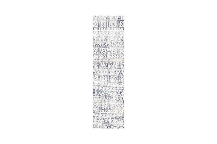 Amelia Blue, Navy & Bone Ivory Coastal Durable Runner Rug 400x80cm