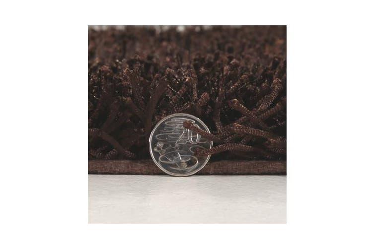 Metallic Noodle Shag Rug Choc Brown 320x230cm