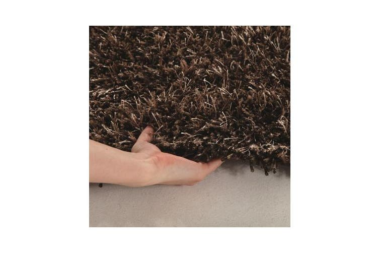 Metallic Noodle Shag Rug Dark Brown 320x230cm