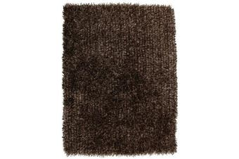 Metallic Noodle Shag Rug Dark Brown 165x115cm