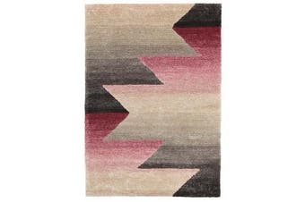 Penny Pink Grey Textured Multi Coloured Rug 280x190cm