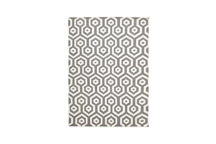 Urban Hive Flat Weave Wool Rug Grey 225x155cm