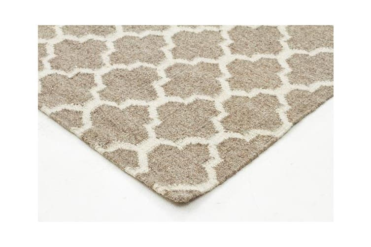 Bazaar Natural Trellis Wool Flat Weave Rug 225x155cm