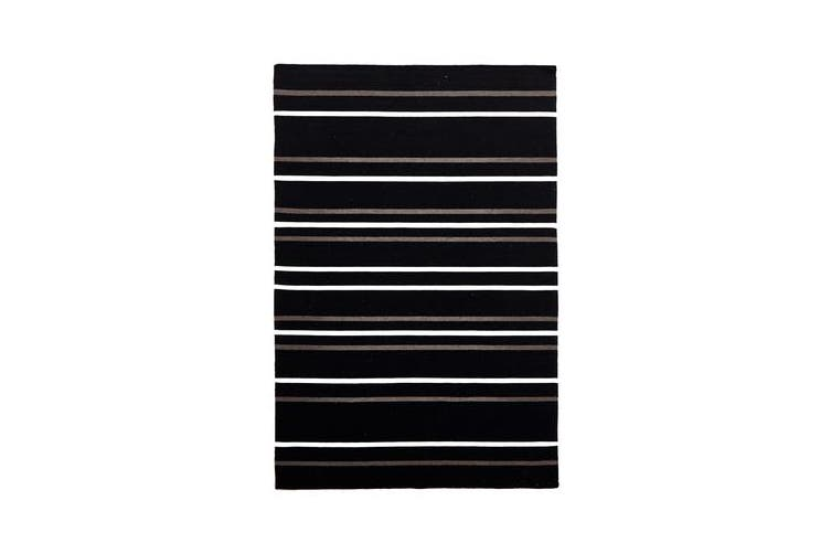 Oslo Stripe Flat Weave Wool Rug Black 225x155cm
