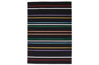 Oslo Stripe Flat Weave Wool Rug Multi Black 320x230cm