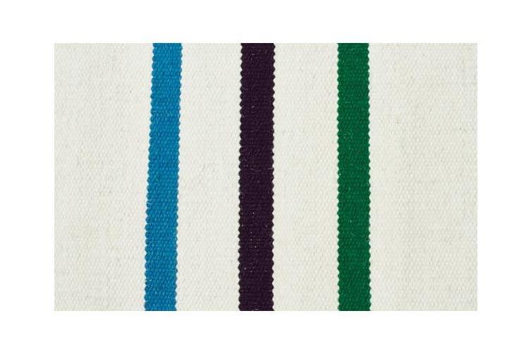Oslo Stripe Flat Weave Wool Rug White 280x190cm