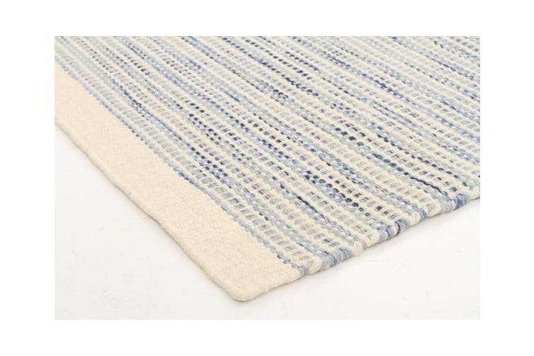 Madras Blue Flat weave Rug 280x190cm