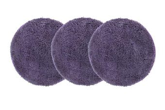 Pack of 3 Freckles Round Shag Rugs Purple 60x60cm