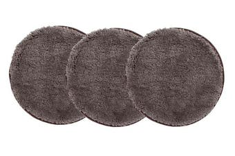 Pack of 3 Freckles Round Shag Rugs Dark Brown 60x60cm