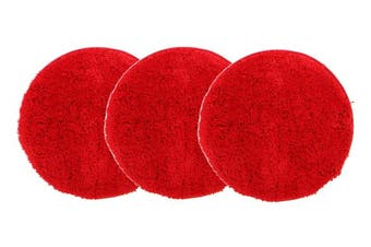 Pack of 3 Freckles Round Shag Rugs Rust 60x60cm