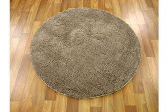 Texture Round Shag Rug Beige 90x90cm