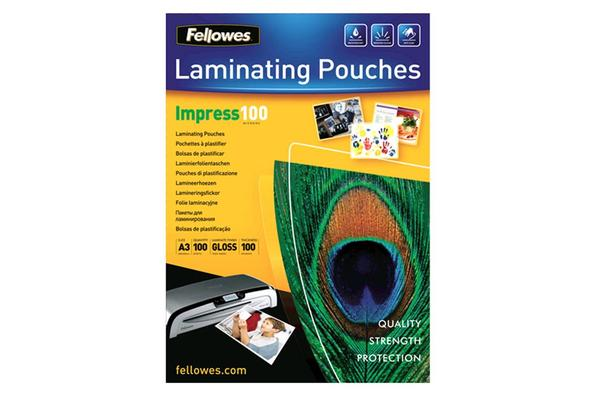 Fellowes 53512 Laminating Pouch A3 100 Micron - 100 pack