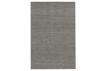Oskar Felted Wool Striped Rug Black White 225x155cm