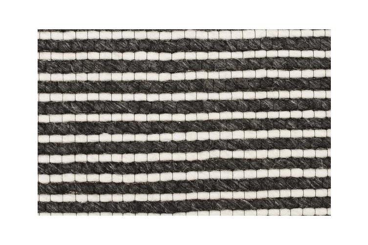 Oskar Felted Wool Striped Rug Black White 225x155cm