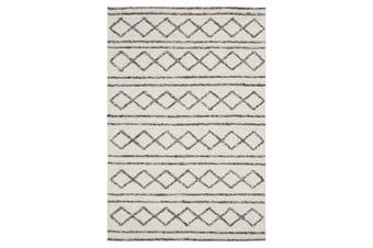 Milly Textured Woollen Rug White Grey 225x155cm