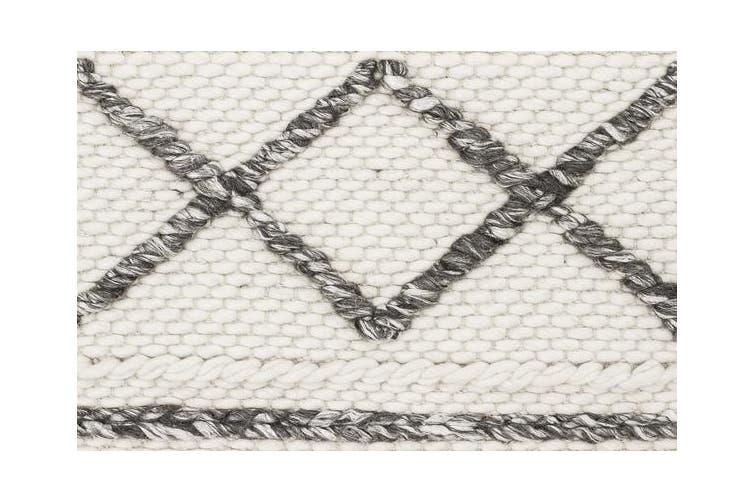 Milly Textured Woollen Rug White Grey 225x155cm