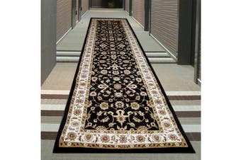 Classic Runner Rug Black with Ivory Border