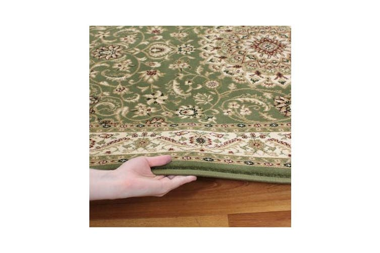 Medallion Rug Green with Ivory Border 400x300cm