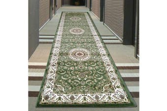 Medallion Runner Rug Green with Ivory Border