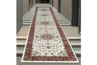 Medallion Runner Ivory with Red Border 400x80cm