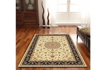 Medallion Rug Ivory with Black Border 170x120cm