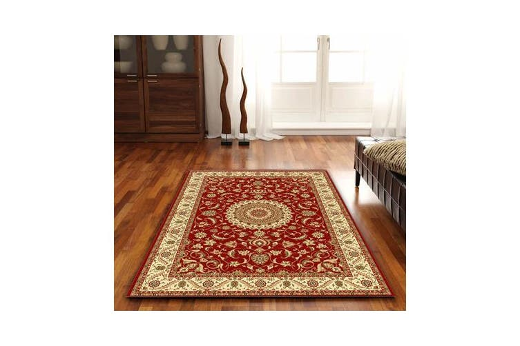 Medallion Rug Red with Ivory Border 170x120cm