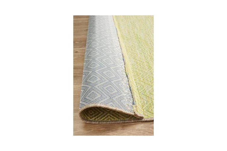 Wyatt Citrus Green Coastal Geometric Runner Rug 400x80cm