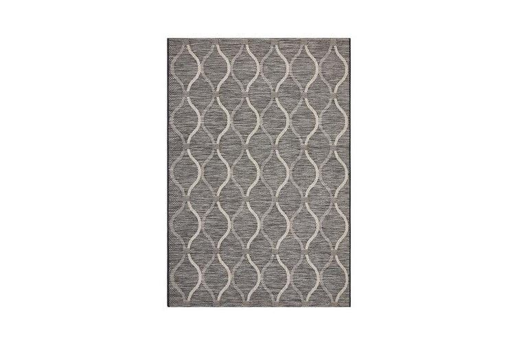Wyatt Black & Natural Coastal Geometric Rug 330x240cm