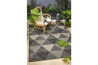 Wyatt Black & Natural Geometric Coastal Rug 230x 160cm