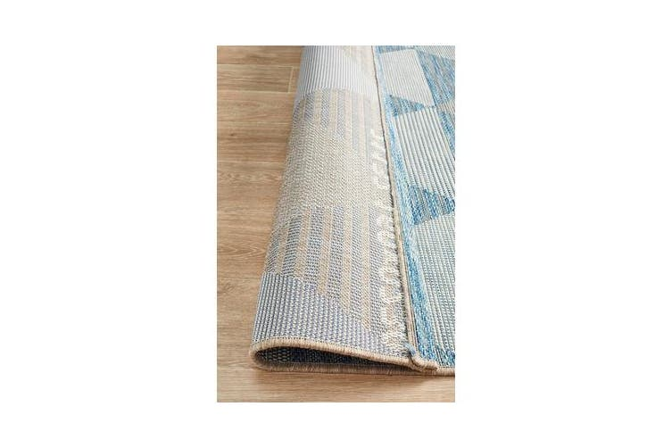 Wyatt Blue & Natural Geometric Coastal Runner Rug 300x 80cm