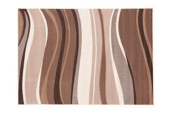 Modern Beige Brown Rug Wave Pattern