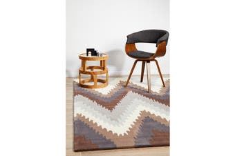 Ikat Chevron Beige Brown Rug 165x115cm